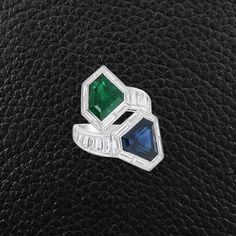 Emerald, Sapphire & Diamond Bypass Ring