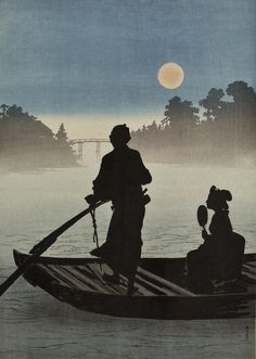 A boat on the Sumida River in moonlight, 新井芳宗 / Arai Yoshimune. (1873 - 1945)