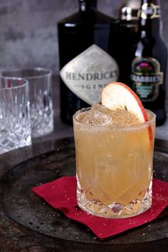 Hendrick's Gin 'Fall All Over' Cocktail - Gin, Apple Cider, Lemon Juice and Ginger Beer are topped with a sprinkling of nutmeg. #cocktailrecipes