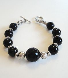 Black And Silver Faceted Onyx  Bracelet by BijiBijoux on Etsy,
