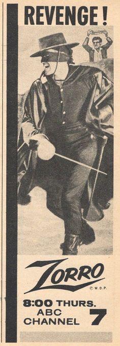 1958 TV Ad Guy Williams Is Zorro Revenge Walt Disney WDP   eBay