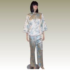 1960's Pale Blue Chinese Silk Brocade Lounging Ensemble