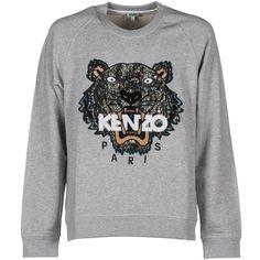 Kenzo Tiger Sweatshirt ($210) ❤ liked on Polyvore featuring tops, hoodies, sweatshirts, grey, gray top, kenzo, kenzo sweatshirts, grey sweatshirt and grey top