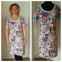 2017 april, Jersey kjole med digital print. Lommer og sløjfe på ærme.