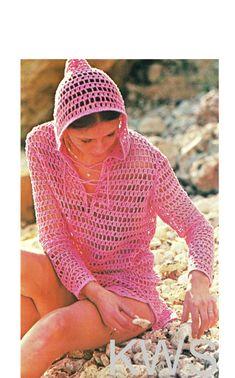 2e5e856fff Vintage 70's Pattern Crochet Bikini HOODED Cover-Up - PDF Pattern - Instant  Download