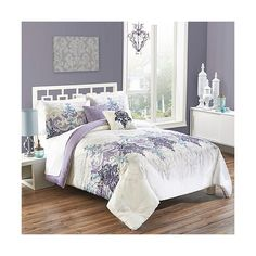 Vue Tristen 4 Piece Comforter Set - Multi-Colored ($117) ❤ liked on Polyvore featuring home, bed & bath, bedding, comforters, king size bedding, damask comforter, floral comforter sets, full/queen comforter e floral comforters