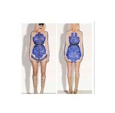 Wholesale,three floor veneer stitching lace long-sleeved dress, sexy perspective gauze dress Slim (Black Blue SML) US $39.50