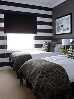 Garden and Home Tranquil Bedroom, Bedrooms, Bedroom Decor, Twin Beds, Stripes, Luxury, Bedtime, Room Ideas, Furniture