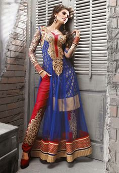 Blue Net Anarkali Kameez With Straight Pant  I would like this without the wide gold border on the inner layer