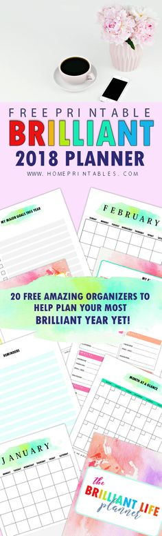 Fall in love with this brilliant free monthly planner 2018 printables. Get your copy now!     #2018 #planner #printables