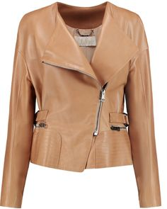 $1,358, Chloé Leather Biker Jacket. Sold by theOutnet. Click for more info: https://lookastic.com/women/shop_items/359253/redirect