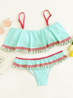 f5eea6d31be09 SheIn offers Contrast Trim Pom Pom Bikini Set   more to fit your  fashionable needs.