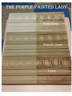 """Paris Grey, French Linen, & Coco ASCP. COCO is more brown and has a warmer feeling to it. It's like the color of coffee flooded with cream in it. FRENCH LINEN is a light khaki or taupe. It has a bit of grey to it compared to Coco. The color makes you think """"Pottery Barn. PARIS GREY is a cooler grey. It is a light dove grey with slight blue undertones. It is a silvery-white grey. This color also makes you think """"Pottery Barn."""