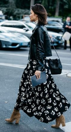 fall street style. floral maxi skirt/ boots. leather jacket.