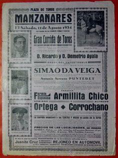 Importante Cartel taurino, Cogida y muerte de Ignacio Sanchez Mejias, Manzanares 1934. (Papel - Carteles Gran Formato - Carteles Toros)