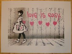 2012 Love is Easy - Pink Silkscreen Art Print by Rene Gagnon