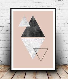Triangle print, marble print, pink wall art, scandinavian design, watercolor print, living room art, home decor, geometric art, minimalist