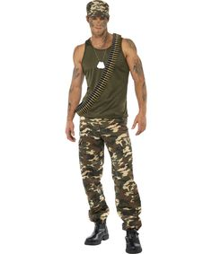 Army costume for men: This army costume for men is composed of a camouflage pair of trousers and a green top. The trousers have pockets and an elastic band at the waist. (Make up, collar, cap, guns and shoes not...