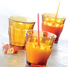 Duralex Picardie Tumblers in Amber, tempered glass made in France