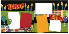 Out on A Limb Scrapbooking Premade Page Kit Happy B Day | eBay -love the row of candles along the top