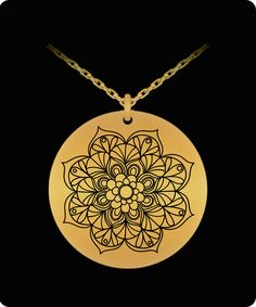 Mandala, mandalas, flower 1 inch diameter Gold toned etched 18k Gold Plated 20 inch chain yoga pendant necklace with chain It's laser engraved on very high quality metals so that it has an incredible shine that you will love every time that you look at it. Waterproof, Laser Engraved with 2 inch chain extender for perfect fit.