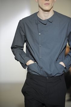 Collar detail side buttoned off centre