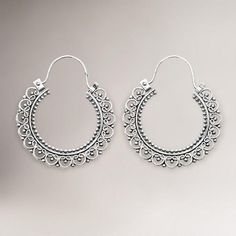 Novica Balinese Lace Sterling Silver Hoop Earrings