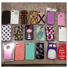 Eighteen iPhone 4/4s phone cases A variety of phone cases. All in excellent condition. please note that the pink sparkly one with the X is no longer available Accessories