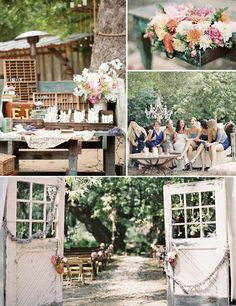 romantic country wedding  love the antique doors just sitting out on the land that you could walk through :)