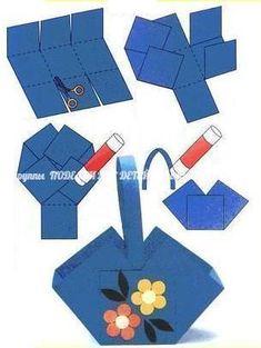 Crafts for preschools : origami tutorial step by step Diy For Kids, Crafts For Kids, Art N Craft, Paper Basket, Origami Tutorial, Spring Crafts, Easter Baskets, Easter Crafts, Easter Bunny