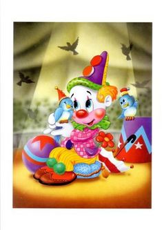 Láminas Infantiles y para Adolescentes (pág. 156) | Aprender manualidades es facilisimo.com Colorful Birthday Party, Art Birthday, Colorful Party, Cartoon Kids, Cute Cartoon, Brother Innovis, Clown Party, Happy Birthday Wishes Cards, Cute Clown