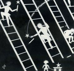 Ladders | From a unique collection of figurative drawings and watercolors at https://www.1stdibs.com/art/drawings-watercolor-paintings/figurative-drawings-watercolors/