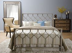 Honeycomb Bed  Brushed Gold  Geometric Headboard Footboard Side Rails Bed Set  Queen * Check out this great product.