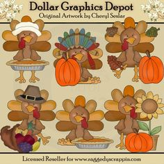 Thanksgiving Turkeys Clip Art Set - Created by Cheryl Seslar - Great for printable crafts, scrapbooking, embroidery patterns, and more! www.DollarGraphicsDepot.com