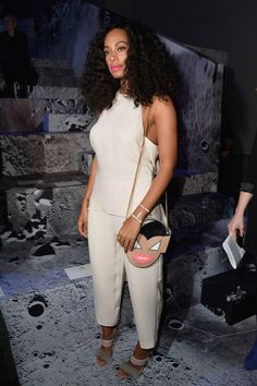 solange knowles in white jumpsuit, fashion, celebrity style, street style, black womens, inspiration