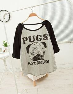 Scoop Neck Pug Pattern 3/4 Sleeve Women's T-Shirt