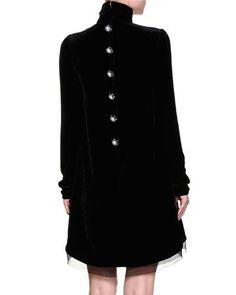 W0DH6 Dolce & Gabbana Mock-Neck Embellished-Chandelier Dress, Black