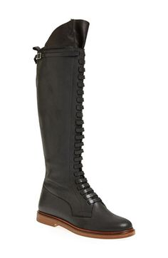 MM6 Maison Martin Margiela Lace-Up Tall Calfskin Leather Boot (Women) available at #Nordstrom