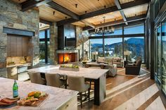 Mountain Peek is a custom designed modern-rustic mountain home by Centre Sky Architecture, located within the Yellowstone Club in Big Sky, Montana. The Yellowstone Club is a magnificent acre… Modern Mountain Home, Mountain Homes, Mountain Style, Interior Design Minimalist, Modern House Design, Home By, Modern Rustic Homes, Lodge Style, Dining Room Design