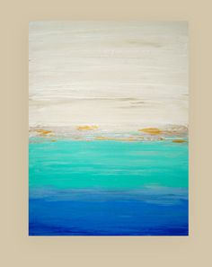 This is an original one of a kind abstract painting by acrylic artist Ora Birenbaum.  Very bold and beautiful shades of true ocean blue, dusty periwinkle, true turquoise and aqua and soft shades of cream and white. There is a ribbon of metallic silver and gold as well as a spray of bright white. Really a gorgeous piece.  Very highly textured. Will arrive signed, sealed, and wired for easy display.  TITLE: Salt Water DIMENSIONS: 30x40x1.5 MEDIUM: Acrylics on Gallery Canvas  ROOM VIEWS MAY NOT…