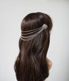 Wedding Headpiece Silver tone headchain drape by RoseRedRoseWhite, £65.00: