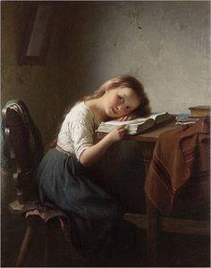 girl reading, JOHANN GEORG MEYER VON BREMEN