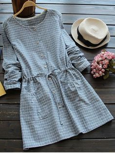 GET $50 NOW | Join RoseGal: Get YOUR $50 NOW!http://www.rosegal.com/long-sleeve-dresses/round-neck-drawstring-checked-dress-860336.html?seid=8478914rg860336