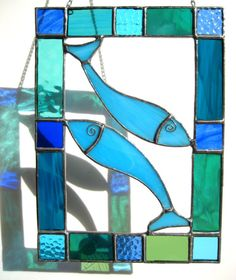 Colourful Stained Glass Fish Suncatcher a Unique Gift Blues