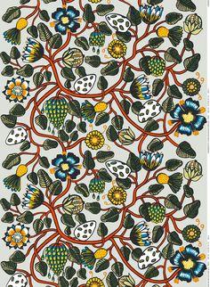 Paksua puuvillakangasta koristavat uuden, värikkään Tiara-kuosin runsas kasvusto ja kukat. Suunnittelija on Erja Hirvi.
