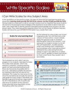 5 Tips for Writing Marzano Scales - Mrs. L's Leveled Learning: Helpful resources to help you decide on your goals, break down your goals, and create learning goals and Marzano scales that will be effective!