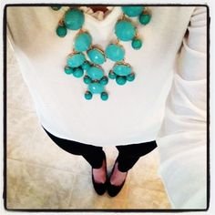 black and white outfit with bubble necklace