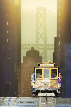 Cable Car At Sunrise With Bay Bridge In The Background, San Francisco By Mitchell Funk - San Francisco Feelings