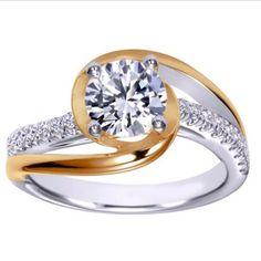 "Ben Garelick Royal Celebration ""Margot"" Two-Tone Swirl Rose & White Gold Diamond Engagement Ring Featuring 0.31 Carats Round Cut Diamonds. Style ER10309T44JJ"