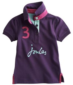 The perfect shirt for girly girls, this violet polo is sure to be your favorite! The Joules Pippa Polo has great details such as contrasting Joules embroidery, a number 3 applique and contrasting accent color under the collar. The soft cotton pique fabric gives it a worn-in feel that makes it comfortable for any occasion. Match this polo shirt with a pair of girls wellies or wellibobs from Joules!  http://www.tackroominc.com/joules-junior-pippa-polo-shirt-violet-p-17378.html